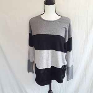 Charlie Paige Stripe Layered Pop Over Sweater
